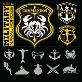 Military and naval forces badges, design elements - vector set