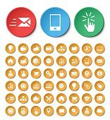 Set of 48 Universal Business & SEO Icons on Circular Buttons.