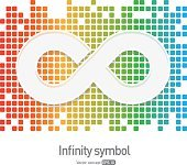 Infinity symbol icon with colorful blocks