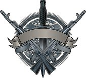military badge with assault rifles and dagger