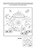 Dot-to-dot and coloring page with tea pot and candy