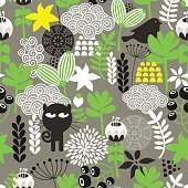 Spring time seamless pattern with cute hunter cat and bird.