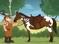 Cartoon Hillbilly Standing with Horse and Smoking a Pipe