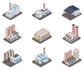 Simple vector isometric factory plants and factories icon set
