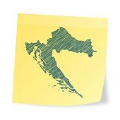 Croatia map on sticky note with scribble effect