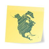 North America map on sticky note with scribble effect