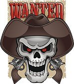 skull with cowboy hat, pistols and wanted poster