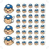 Various styles of a Postman Character Face icon Sets.