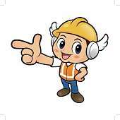 Construction worker Character is guides gesture.