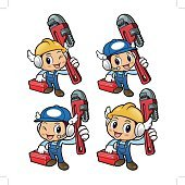 Plumber Character is slung the pipe wrench over his shoulders.