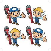 Plumber Character is holding the pipe wrench.