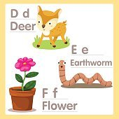 Illustrator of D E F with deer earthworm and flower