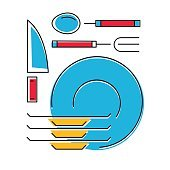 Tableware icon, plates, fork, spoon, knife. Line style. Vector illustration