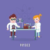 Kids education. Physics class. Children in a lab