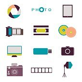 Photography vintage retro icons, badges and labels set vector.