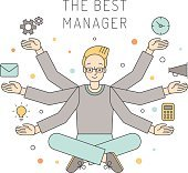 Many hands blond man manager multicolored vector illustration.