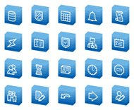 'Database web icons, blue box series'