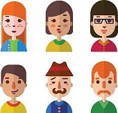 Vector set flat design icons of various faces