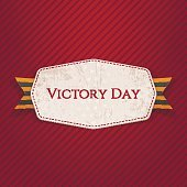 Victory Day white paper Label with Ribbon