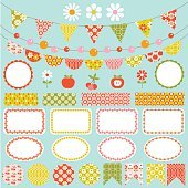 Vintage patterns Bunting and Labels clipart