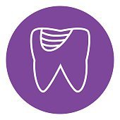 Tooth decay line icon