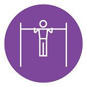 Gymnast exercising on bar line icon