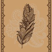 Abstract vector tribal graphic feather - doodle pattern.
