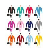 Set businessman in colorful costumes. Man in pink dress. Busines