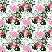 Tropical jungle seamless pattern with flamingo bird, hibiscus, palm leaves