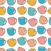 Seamless pattern of tea and coffee cups.