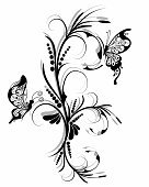 Floral ornament with butterflies .