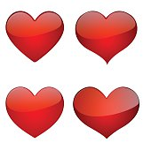 Set Of Glossy Hearts, Icon Vector Design