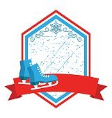 Christmas Winter Sport Label Icons Flat with Skates Isolated on