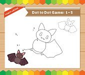 Cartoon Bat. Dot to dot educational game for kids