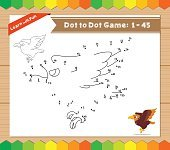 Cartoon Eagle. Dot to dot educational game for kids