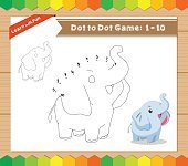 Cartoon Elephant. Dot to dot educational game for kids