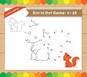 Cartoon Squirrel. Dot to dot educational game for kids