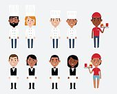 Illustration Of Characters Depicting Catering Occupations