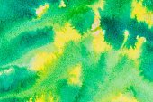 Yellow and green colored ink wash background.