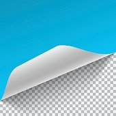 Light blue and white sheet of paper with curved corner