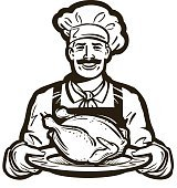 cuisine vector logo. chicken meat, turkey, food icon