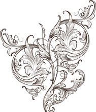 Wide Leaf Acanthus Scroll hand engraved scrollwork swirls