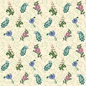 Wildflowers drawn pattern background. Lily of the valley, cornflower