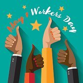 May first workers day flat design