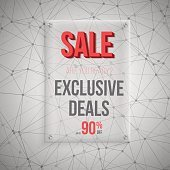 Realistic Vector Glass Plate Template Icon. Big Sale Poster
