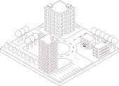 Isometric map of the area. Linear style. High-rise building and