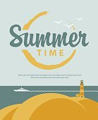 banner summer time with sea