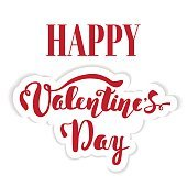Happy Valentine's Day. Hand lettering. Handmade calligraphy, vector. Greeting card.