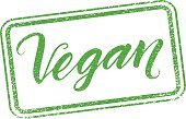 Vegan stamp with hand drawn lettering isolated on white