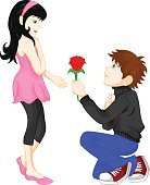 man give red flower women